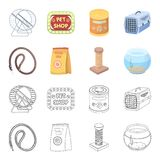 Leash, feed and other zoo store products.Pet shop set collection icons in cartoon,outline style vector symbol stock. Illustration Stock Image