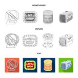Leash, feed and other zoo store products.Pet shop set collection icons in flat,outline,monochrome style vector symbol. Stock illustration Stock Image
