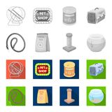 Leash, feed and other zoo store products.Pet shop set collection icons in monochrome,flat style vector symbol stock. Illustration Royalty Free Stock Photography