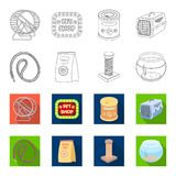 Leash, feed and other zoo store products.Pet shop set collection icons in outline,flat style vector symbol stock Royalty Free Stock Photos