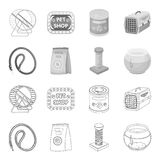 Leash, feed and other zoo store products.Pet shop set collection icons in outline,monochrome style vector symbol stock. Illustration Royalty Free Stock Image