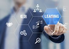 Free Leasing Business Concept With Icons About Contract Agreement Between Lessee And Lessor Over The Rent Of An Asset As Car, Vehicle, Royalty Free Stock Photo - 185365915
