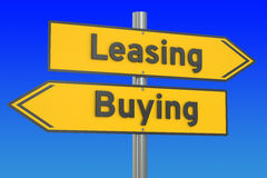 Leasing or buying concept on the road signpost, 3D rendering Royalty Free Stock Photography