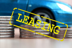 Leasing - a form of lending when you purchase expensive goods Stock Photos
