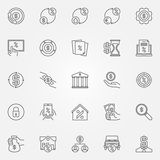 Leasing and loan icons set. Vector collection of banking and financial symbols or design elements in thin line style Royalty Free Stock Images
