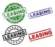 Scratched Textured LEASING Seal Stamps. LEASING seal prints with distress surface. Black, green,red,blue vector rubber prints of LEASING caption with dirty royalty free illustration