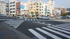 Road zebra crosses in Nagasaki, Japan stock photography