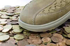 Leasure leather shoe walking on money Royalty Free Stock Image