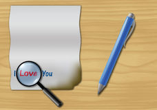 Letter. Love letter, pen and magnifying glass on old wooden desk Stock Photos