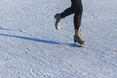 Leathe Skates Ice Skating on Ice Surface Copy Space Stock Photos