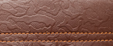 Leather. Background texture macro vertical color brown Stock Photos