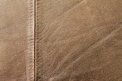 Leather. Brown leather background with seam stock photos