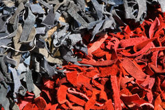 Leather. Pieces in the market Stock Photo