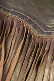 Leather. Brown leather fringe on a jacket Royalty Free Stock Image