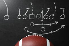 Leather American football on chalkboard. With scheme of game, closeup stock image