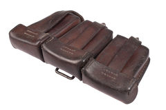 Leather ammo pouch - bag for ammo Stock Photo