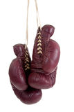 Leather, antique boxing gloves royalty free stock photography