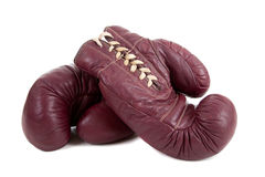 Leather, Antique Boxing Gloves Stock Photo
