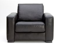 Leather arm chair. Black Leather arm chair on white background Royalty Free Stock Photo