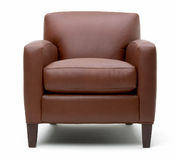 Leather arm chair. Brown Leather arm chair on white background Stock Image