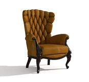 Leather  armchair. Brown Leather  armchair over the white (3D Stock Photo