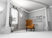 Leather  armchair. Brown Leather  armchair over the blank interior Royalty Free Stock Image