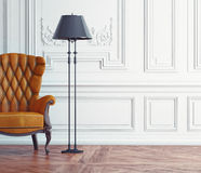 Leather armchair. In the classic interior. 3d concept Royalty Free Stock Images