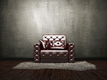 Leather armchair near the cement wall. Leather armchair near the old grey cement wall stock illustration
