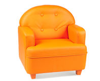 Leather Armchair of orange color Royalty Free Stock Photos