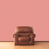Leather armchair in room with vintage wallpaper Royalty Free Stock Photography