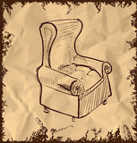 Leather armchair on vintage background Royalty Free Stock Images