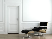 Leather armchair on white interior wall royalty free stock image