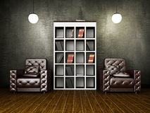Leather armchairs near the cement wall Royalty Free Stock Images