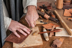 Leather artisan Stock Images