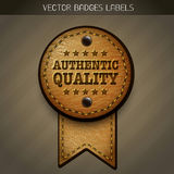 Leather authentic quality label Stock Photography