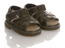 Leather baby sandals Stock Photos
