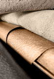 Leather background. Samples of leather for upholstery Royalty Free Stock Images