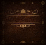 Leather background with golden frame. Royalty Free Stock Images