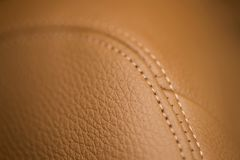 Leather background with stich. Car interior detail Royalty Free Stock Images