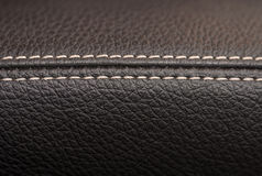 Leather background with stich. Stock Photos