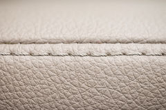 Leather background with stich. Detail of car interior. Macro Royalty Free Stock Photo