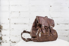 A leather backpack Royalty Free Stock Photography