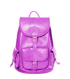 Leather backpack standing isolated on white background violet Royalty Free Stock Photo