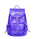 Leather backpack standing isolated on white blue color Royalty Free Stock Photography