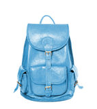 Leather backpack standing isolated on white sky blue color Stock Images