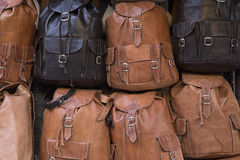 Leather backpacks Royalty Free Stock Images