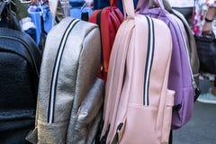 Leather backpacks. Leather stylish backpacks for girls Stock Photos