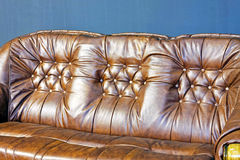 Leather backs. Brown leather upholster pattern at sofa backs Stock Images