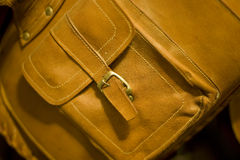 Leather Bag. Detail of pocket on beautiful old leather travel bag Stock Photo