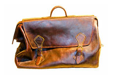 Leather bag. Old brown leather bag isolated with clipping path Stock Image